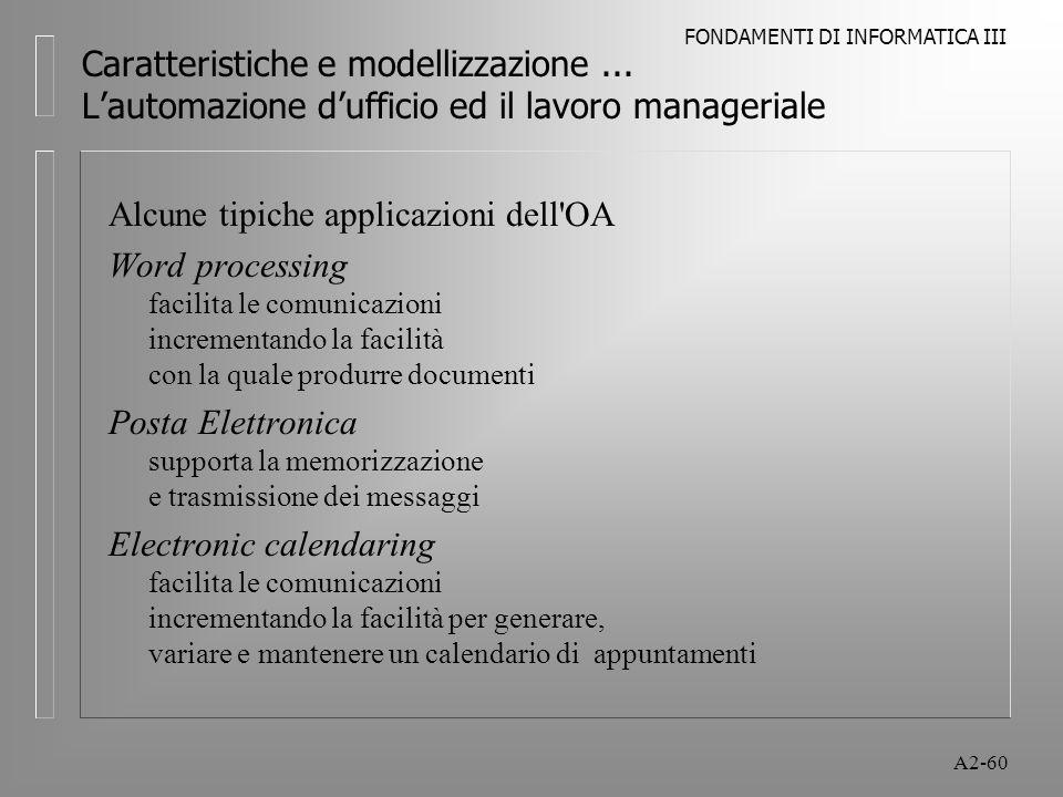 FONDAMENTI DI INFORMATICA III A2-60 Caratteristiche e modellizzazione... Lautomazione dufficio ed il lavoro manageriale Alcune tipiche applicazioni de