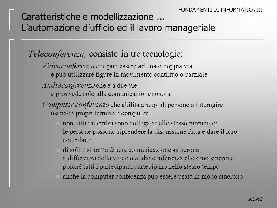 FONDAMENTI DI INFORMATICA III A2-62 Caratteristiche e modellizzazione... Lautomazione dufficio ed il lavoro manageriale Teleconferenza, consiste in tr