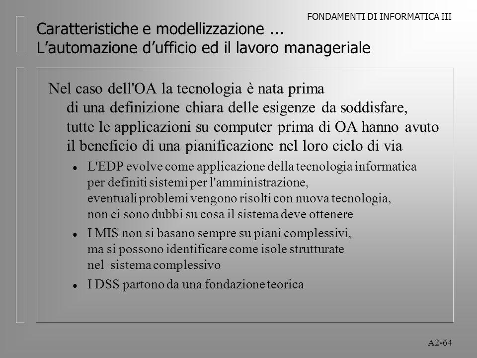 FONDAMENTI DI INFORMATICA III A2-64 Caratteristiche e modellizzazione... Lautomazione dufficio ed il lavoro manageriale Nel caso dell'OA la tecnologia