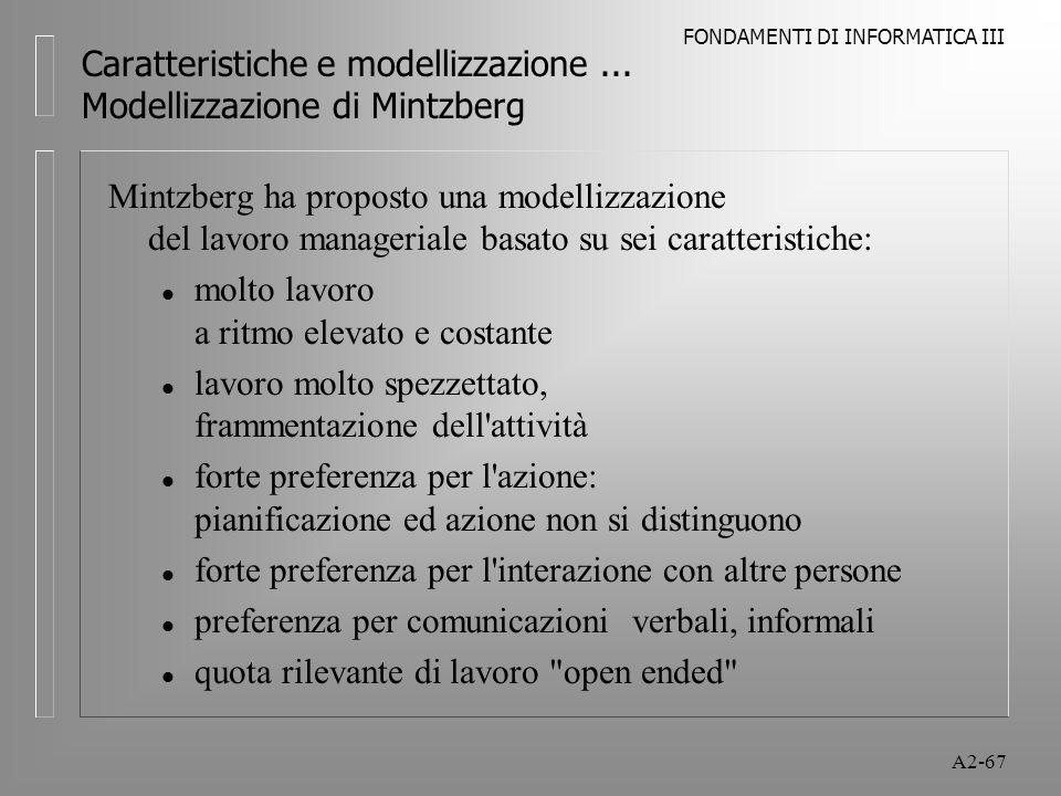 FONDAMENTI DI INFORMATICA III A2-67 Caratteristiche e modellizzazione... Modellizzazione di Mintzberg Mintzberg ha proposto una modellizzazione del la