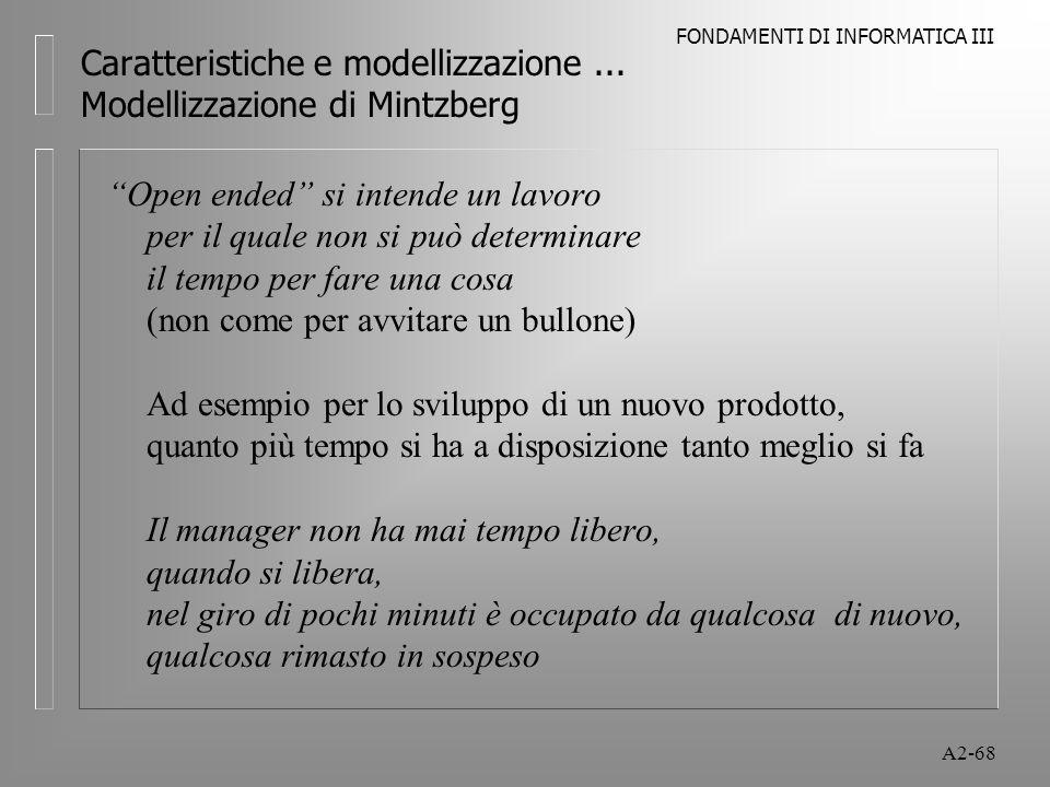 FONDAMENTI DI INFORMATICA III A2-68 Caratteristiche e modellizzazione... Modellizzazione di Mintzberg Open ended si intende un lavoro per il quale non