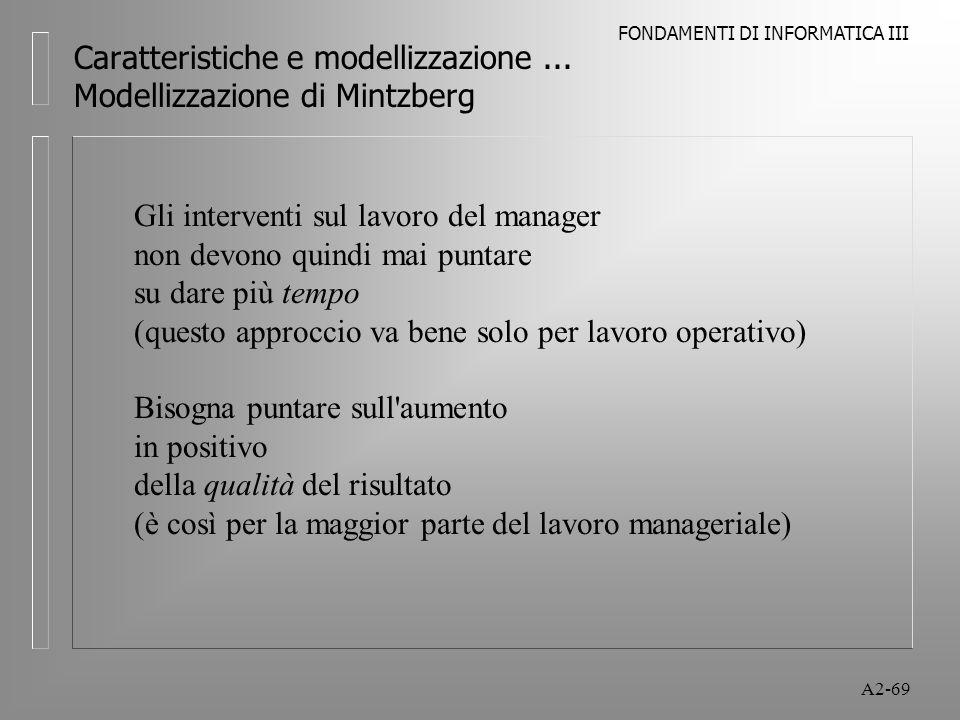 FONDAMENTI DI INFORMATICA III A2-69 Caratteristiche e modellizzazione... Modellizzazione di Mintzberg Gli interventi sul lavoro del manager non devono