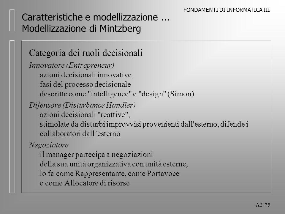 FONDAMENTI DI INFORMATICA III A2-75 Caratteristiche e modellizzazione... Modellizzazione di Mintzberg Categoria dei ruoli decisionali Innovatore (Entr