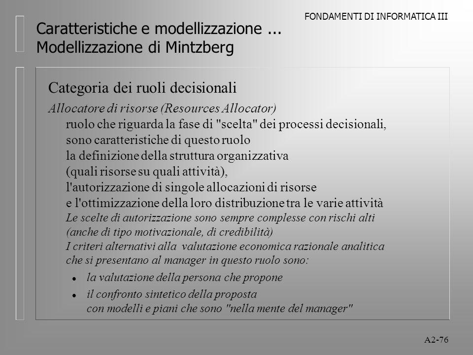 FONDAMENTI DI INFORMATICA III A2-76 Caratteristiche e modellizzazione... Modellizzazione di Mintzberg Categoria dei ruoli decisionali Allocatore di ri