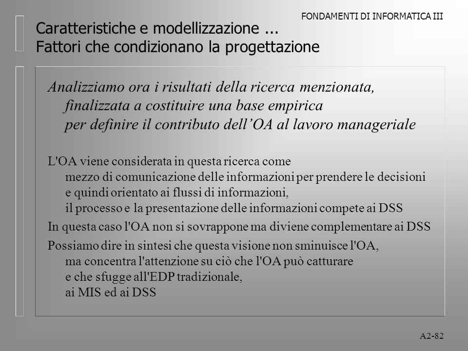 FONDAMENTI DI INFORMATICA III A2-82 Caratteristiche e modellizzazione... Fattori che condizionano la progettazione Analizziamo ora i risultati della r