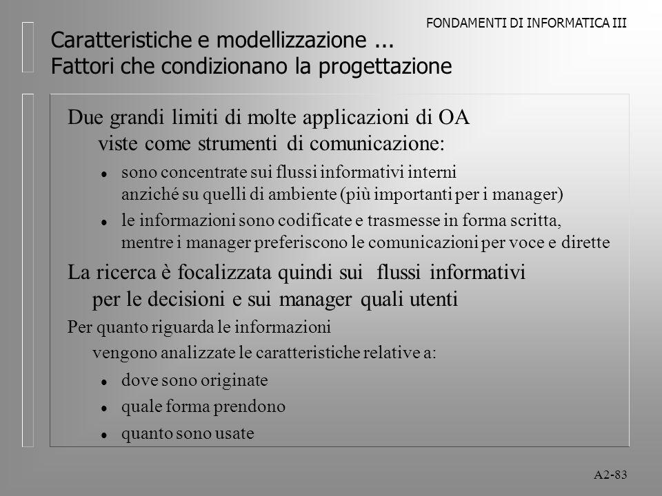 FONDAMENTI DI INFORMATICA III A2-83 Caratteristiche e modellizzazione... Fattori che condizionano la progettazione Due grandi limiti di molte applicaz
