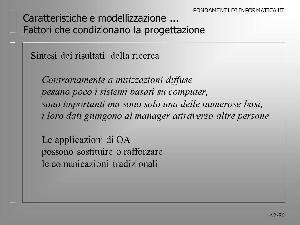 FONDAMENTI DI INFORMATICA III A2-86 Caratteristiche e modellizzazione... Fattori che condizionano la progettazione Sintesi dei risultati della ricerca