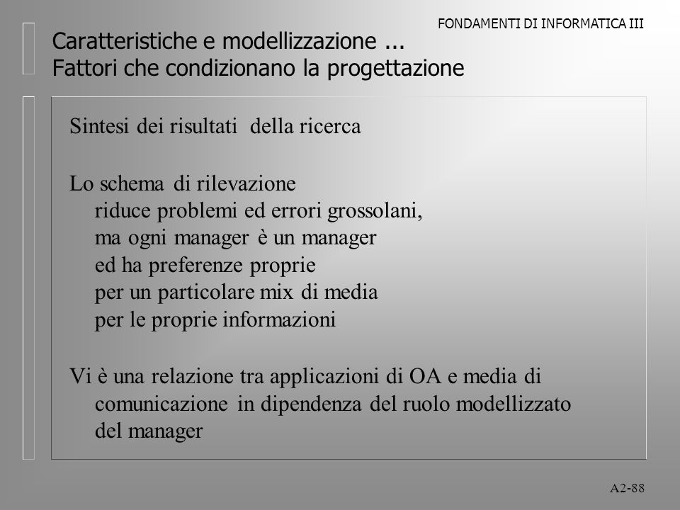 FONDAMENTI DI INFORMATICA III A2-88 Caratteristiche e modellizzazione... Fattori che condizionano la progettazione Sintesi dei risultati della ricerca