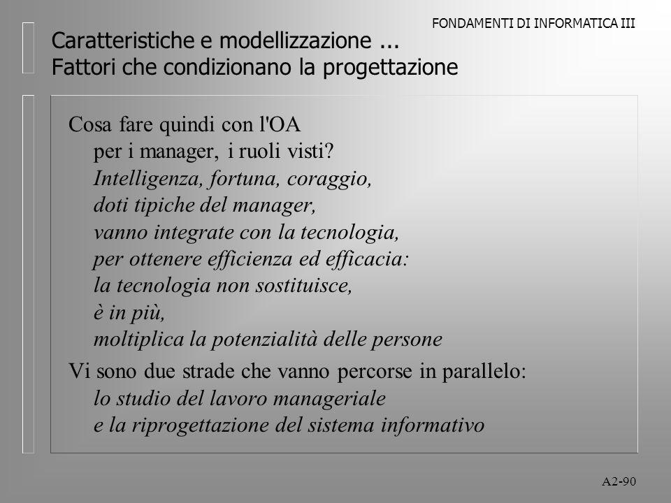 FONDAMENTI DI INFORMATICA III A2-90 Caratteristiche e modellizzazione... Fattori che condizionano la progettazione Cosa fare quindi con l'OA per i man