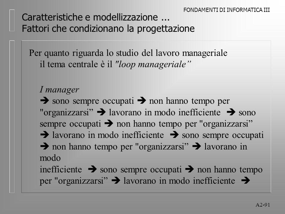 FONDAMENTI DI INFORMATICA III A2-91 Caratteristiche e modellizzazione... Fattori che condizionano la progettazione Per quanto riguarda lo studio del l