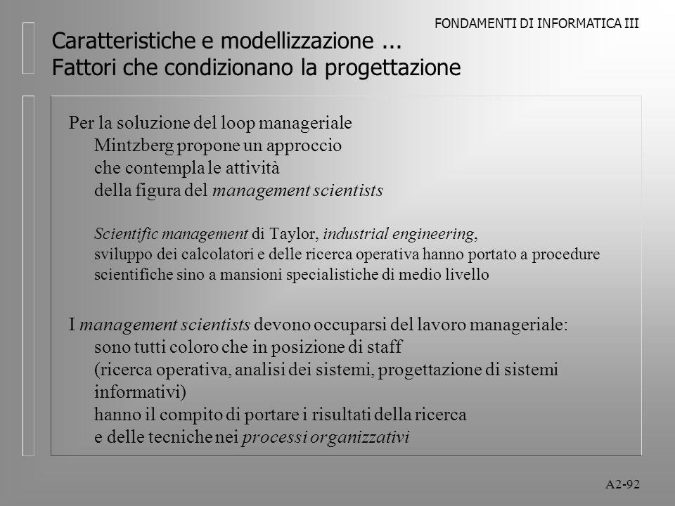 FONDAMENTI DI INFORMATICA III A2-92 Caratteristiche e modellizzazione... Fattori che condizionano la progettazione Per la soluzione del loop manageria