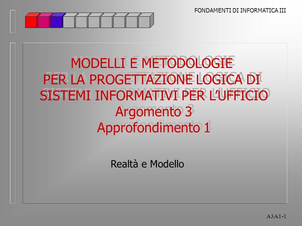 FONDAMENTI DI INFORMATICA III A3A1-1 Realtà e Modello MODELLI E METODOLOGIE PER LA PROGETTAZIONE LOGICA DI SISTEMI INFORMATIVI PER LUFFICIO Argomento