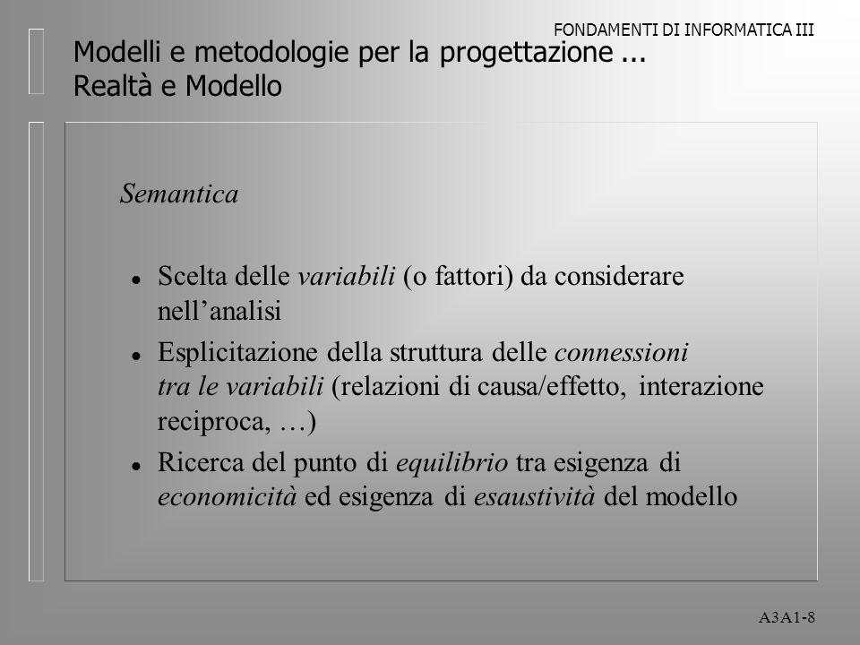 FONDAMENTI DI INFORMATICA III A3A1-8 Semantica l Scelta delle variabili (o fattori) da considerare nellanalisi l Esplicitazione della struttura delle
