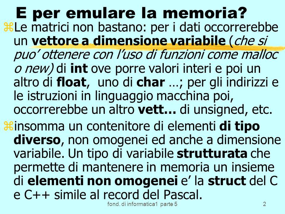 fond. di informatica1 parte 52 E per emulare la memoria.