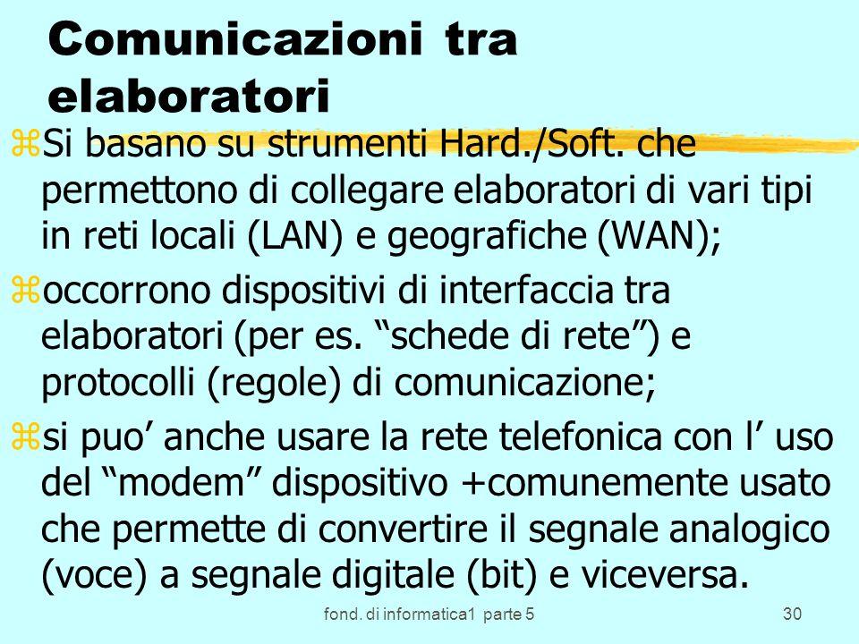 fond. di informatica1 parte 530 Comunicazioni tra elaboratori zSi basano su strumenti Hard./Soft.