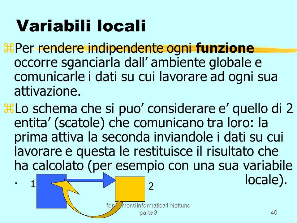 fondamenti informatica1 Nettuno parte 340 Variabili locali zPer rendere indipendente ogni funzione occorre sganciarla dall ambiente globale e comunicarle i dati su cui lavorare ad ogni sua attivazione.