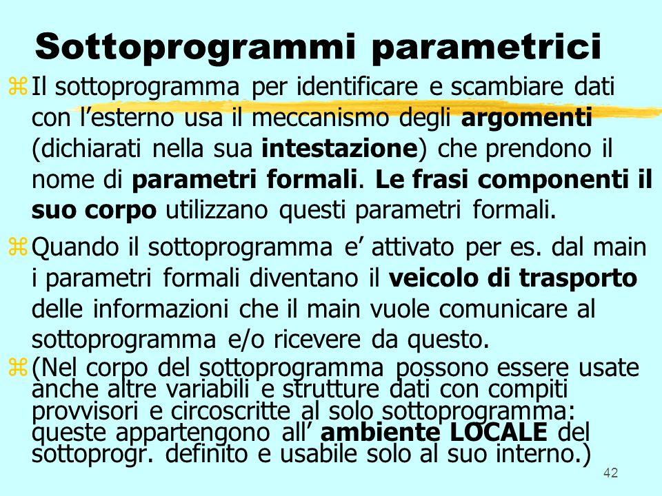 42 Sottoprogrammi parametrici zIl sottoprogramma per identificare e scambiare dati con lesterno usa il meccanismo degli argomenti (dichiarati nella sua intestazione) che prendono il nome di parametri formali.