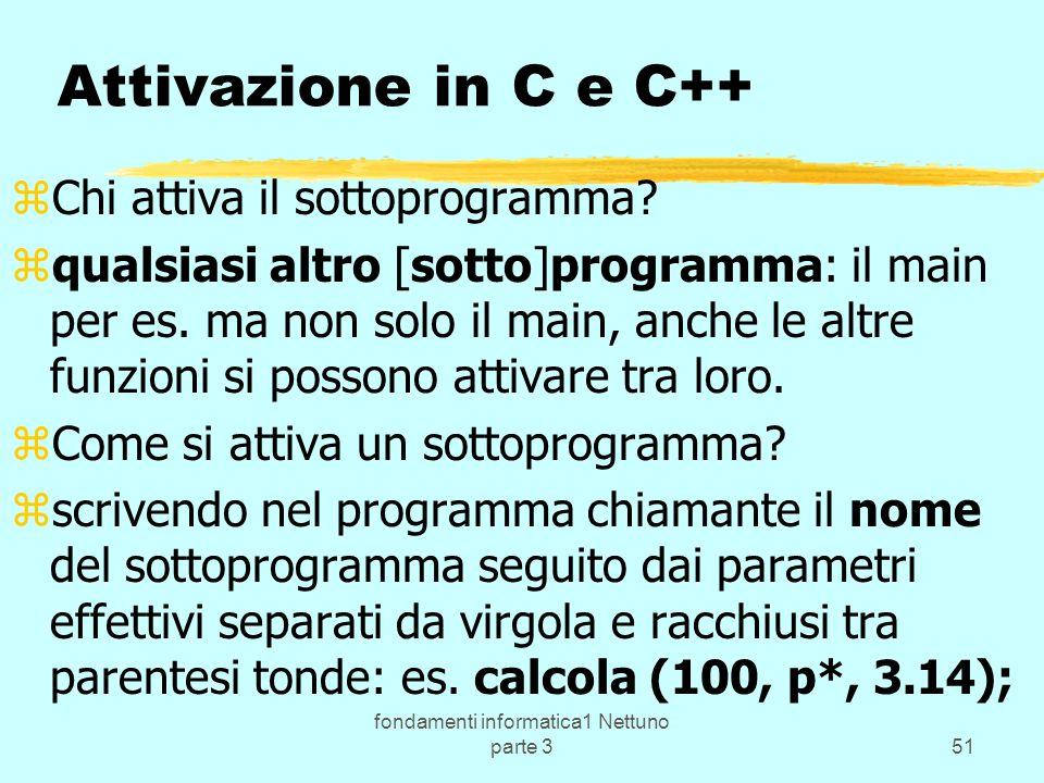 fondamenti informatica1 Nettuno parte 351 Attivazione in C e C++ zChi attiva il sottoprogramma.