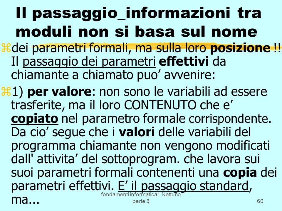 fondamenti informatica1 Nettuno parte 360 Il passaggio_informazioni tra moduli non si basa sul nome zdei parametri formali, ma sulla loro posizione !.