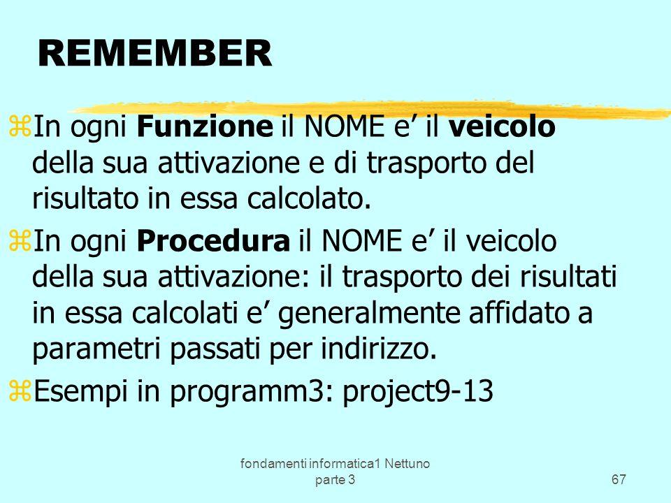 fondamenti informatica1 Nettuno parte 367 REMEMBER zIn ogni Funzione il NOME e il veicolo della sua attivazione e di trasporto del risultato in essa calcolato.