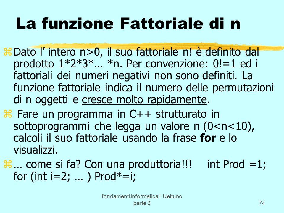 fondamenti informatica1 Nettuno parte 374 La funzione Fattoriale di n zDato l intero n>0, il suo fattoriale n.