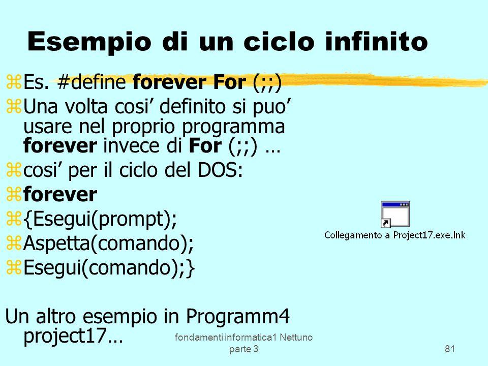 fondamenti informatica1 Nettuno parte 381 Esempio di un ciclo infinito zEs.