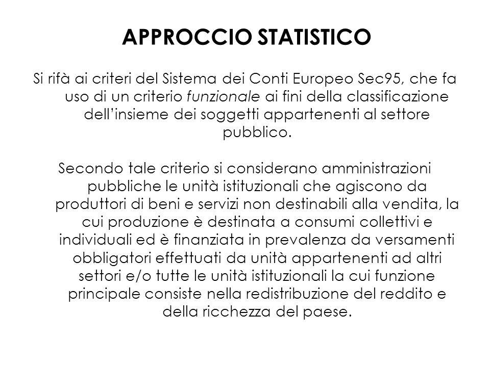 Si rifà ai criteri del Sistema dei Conti Europeo Sec95, che fa uso di un criterio funzionale ai fini della classificazione dellinsieme dei soggetti ap
