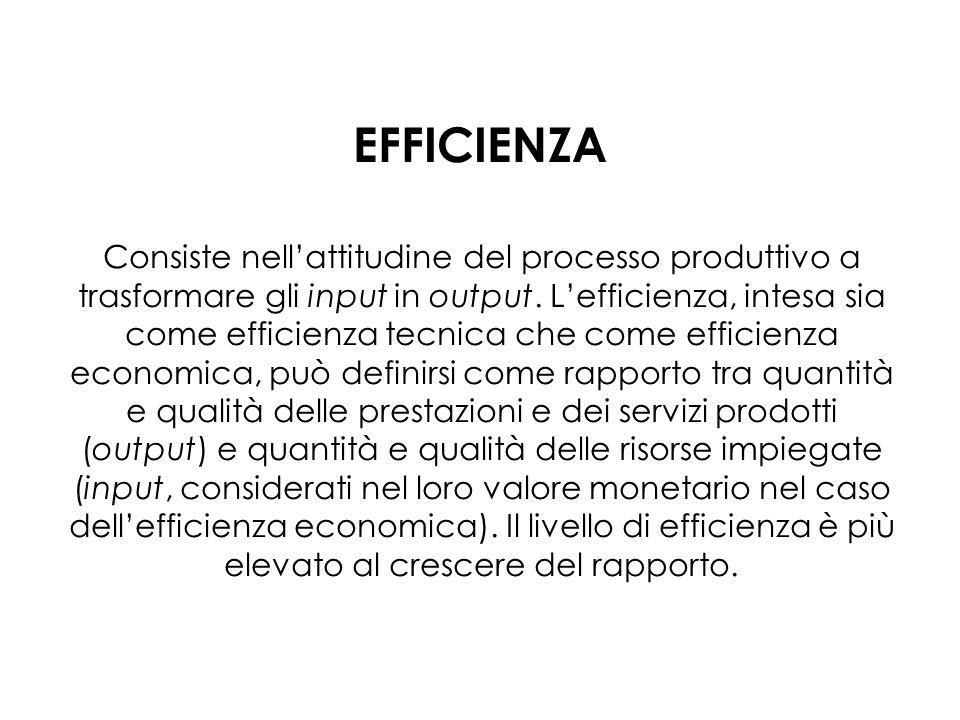 EFFICIENZA Consiste nellattitudine del processo produttivo a trasformare gli input in output. Lefficienza, intesa sia come efficienza tecnica che come