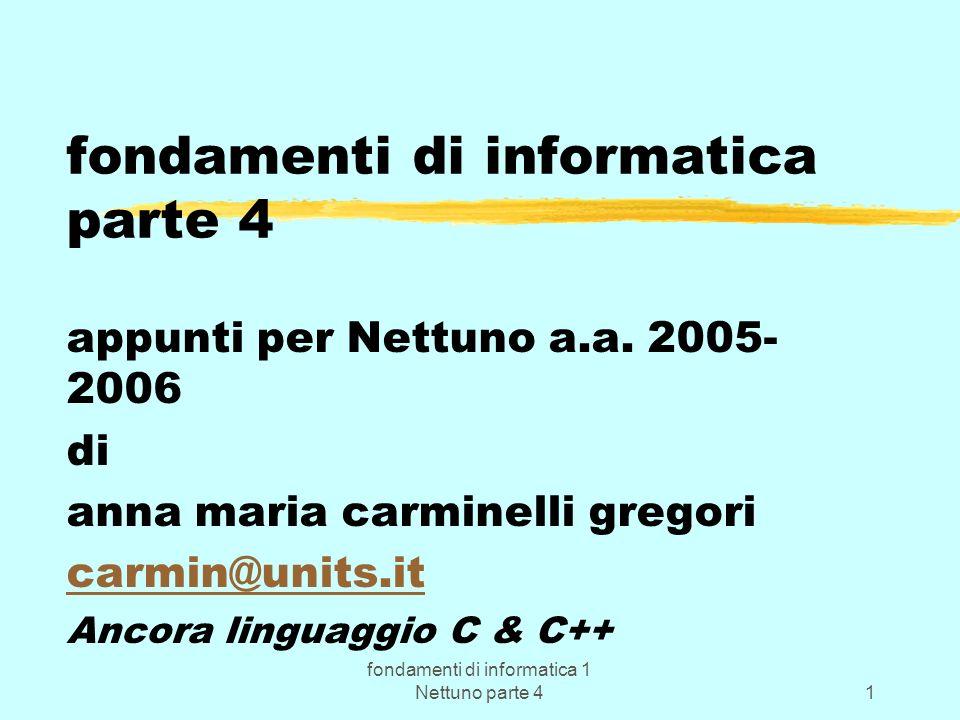 fondamenti di informatica 1 Nettuno parte 41 fondamenti di informatica parte 4 appunti per Nettuno a.a. 2005- 2006 di anna maria carminelli gregori ca