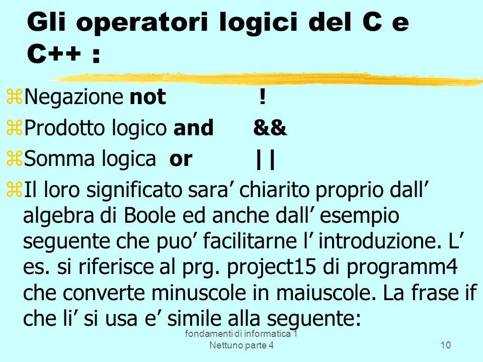 fondamenti di informatica 1 Nettuno parte 410 Gli operatori logici del C e C++ : zNegazione not ! zProdotto logico and && zSomma logica or || zIl loro