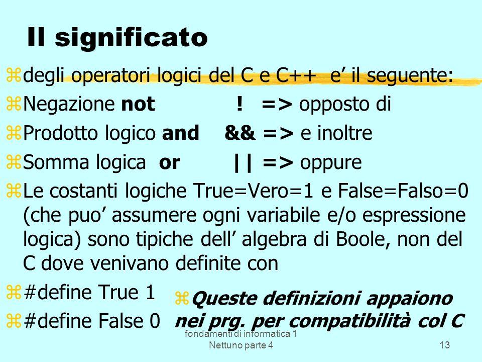 fondamenti di informatica 1 Nettuno parte 413 Il significato zdegli operatori logici del C e C++ e il seguente: zNegazione not ! => opposto di zProdot