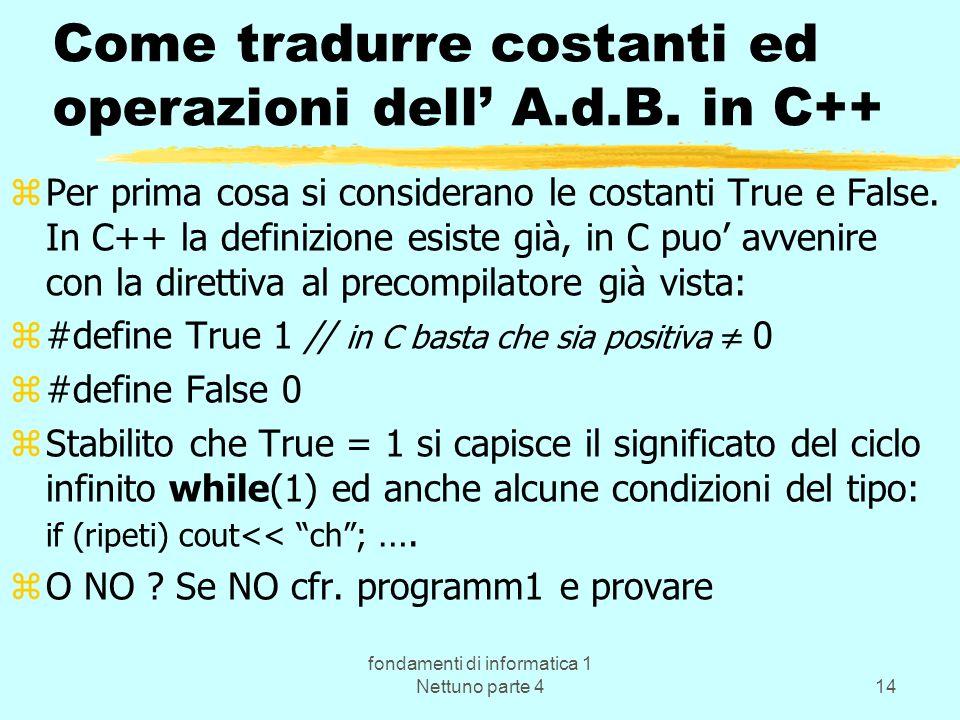 fondamenti di informatica 1 Nettuno parte 414 Come tradurre costanti ed operazioni dell A.d.B. in C++ zPer prima cosa si considerano le costanti True