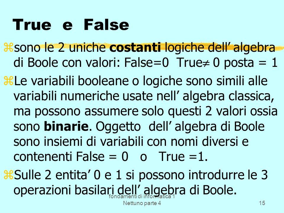 fondamenti di informatica 1 Nettuno parte 415 True e False zsono le 2 uniche costanti logiche dell algebra di Boole con valori: False=0 True 0 posta =