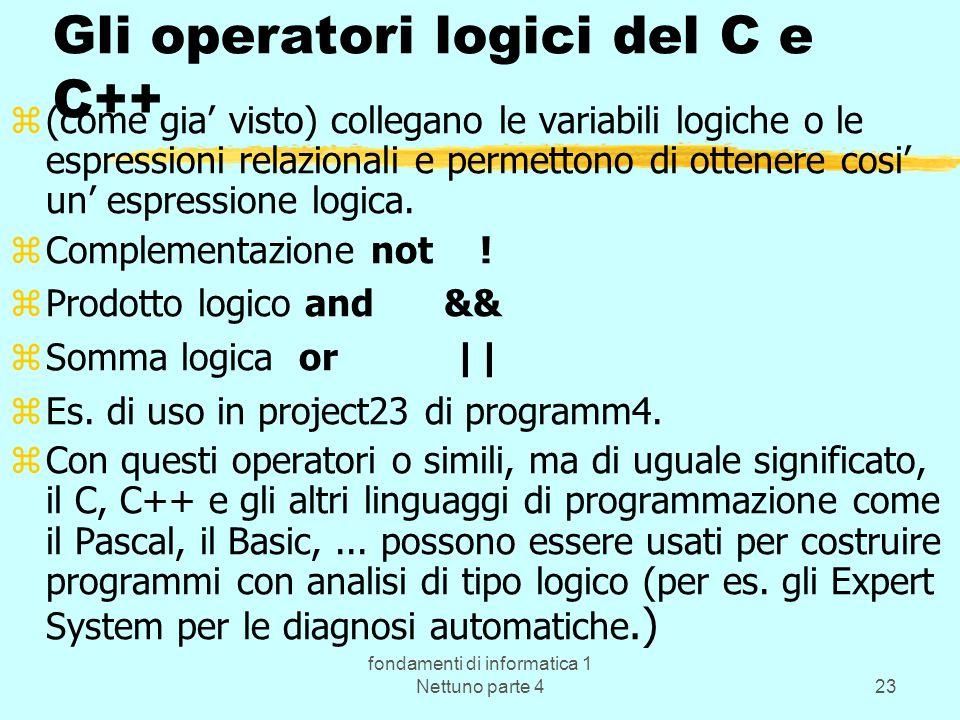 fondamenti di informatica 1 Nettuno parte 423 Gli operatori logici del C e C++ z(come gia visto) collegano le variabili logiche o le espressioni relaz