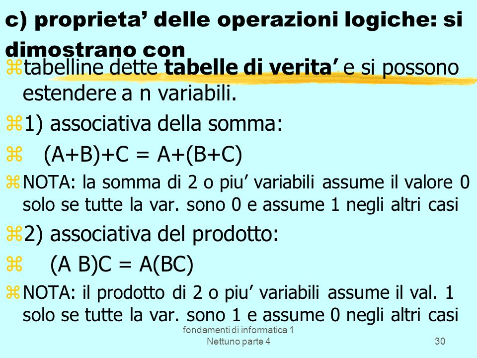 fondamenti di informatica 1 Nettuno parte 430 c) proprieta delle operazioni logiche: si dimostrano con ztabelline dette tabelle di verita e si possono