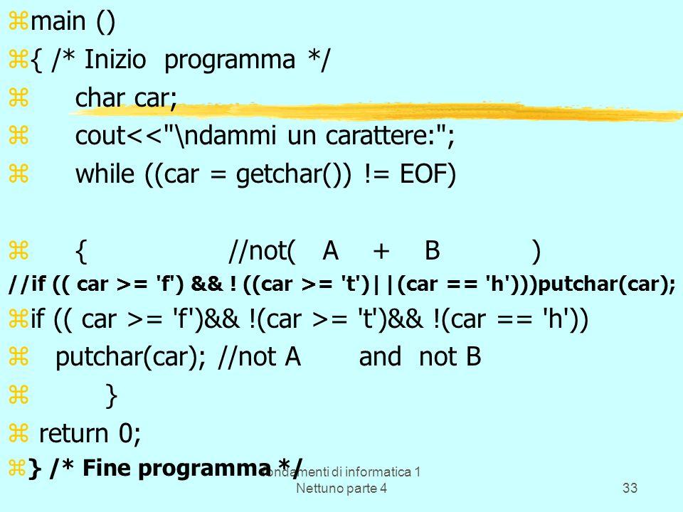 fondamenti di informatica 1 Nettuno parte 433 zmain () z{ /* Inizio programma */ zchar car; zcout<<