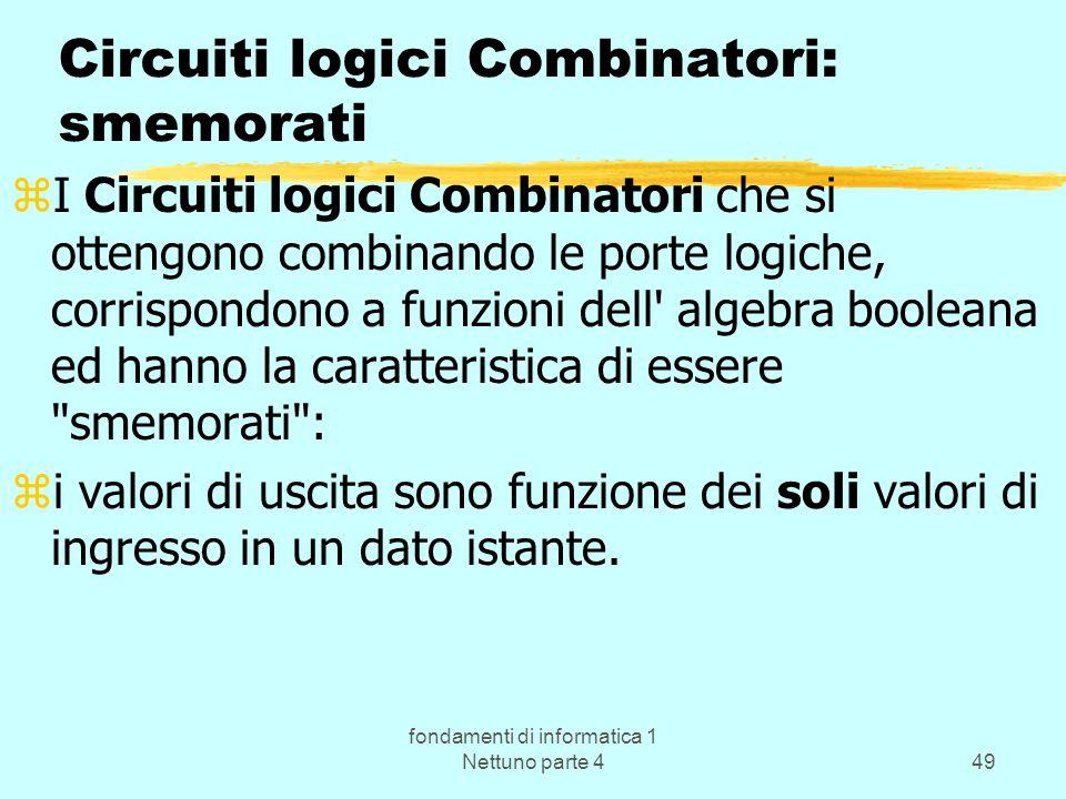 fondamenti di informatica 1 Nettuno parte 449 Circuiti logici Combinatori: smemorati zI Circuiti logici Combinatori che si ottengono combinando le por