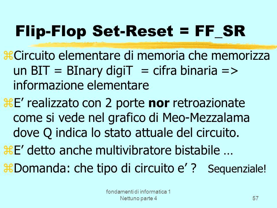 fondamenti di informatica 1 Nettuno parte 457 Flip-Flop Set-Reset = FF_SR zCircuito elementare di memoria che memorizza un BIT = BInary digiT = cifra