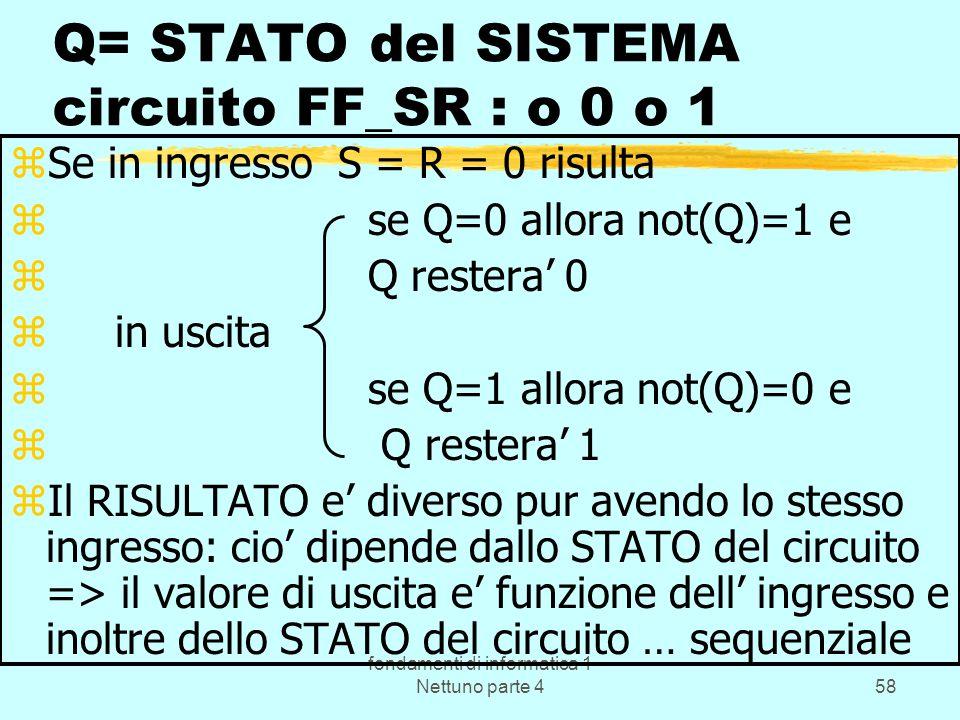 fondamenti di informatica 1 Nettuno parte 458 Q= STATO del SISTEMA circuito FF_SR : o 0 o 1 zSe in ingresso S = R = 0 risulta z se Q=0 allora not(Q)=1