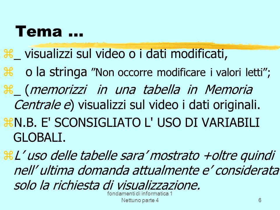 fondamenti di informatica 1 Nettuno parte 46 Tema... z_ visualizzi sul video o i dati modificati, z o la stringa Non occorre modificare i valori letti