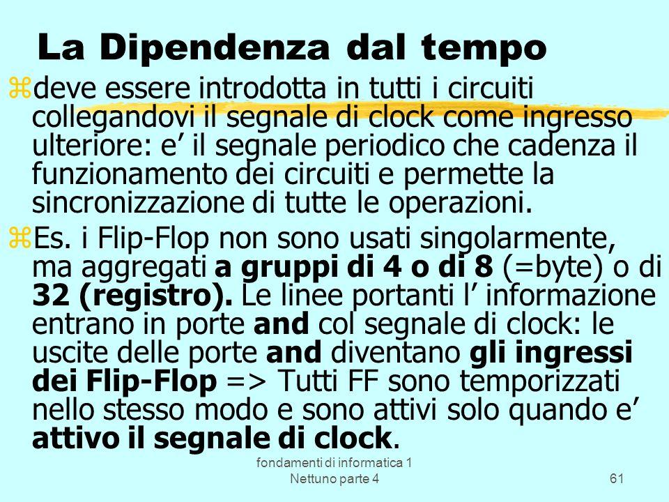 fondamenti di informatica 1 Nettuno parte 461 La Dipendenza dal tempo zdeve essere introdotta in tutti i circuiti collegandovi il segnale di clock com