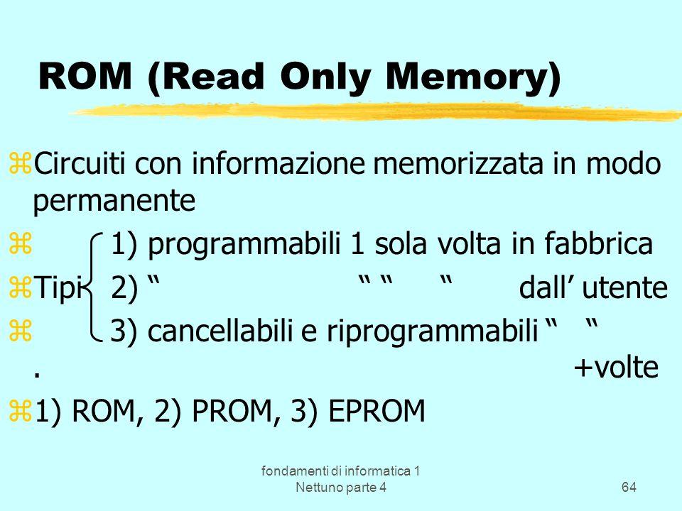fondamenti di informatica 1 Nettuno parte 464 ROM (Read Only Memory) zCircuiti con informazione memorizzata in modo permanente z 1) programmabili 1 so