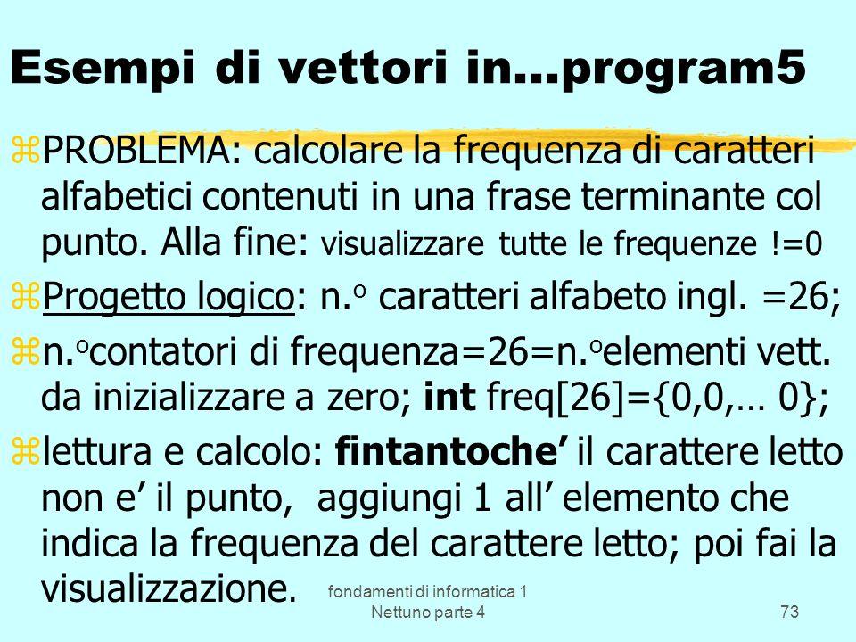 fondamenti di informatica 1 Nettuno parte 473 Esempi di vettori in...program5 zPROBLEMA: calcolare la frequenza di caratteri alfabetici contenuti in u