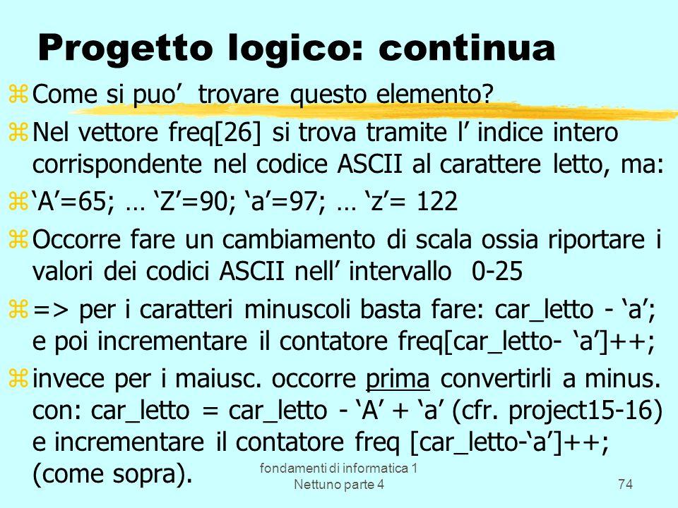 fondamenti di informatica 1 Nettuno parte 474 Progetto logico: continua zCome si puo trovare questo elemento? zNel vettore freq[26] si trova tramite l