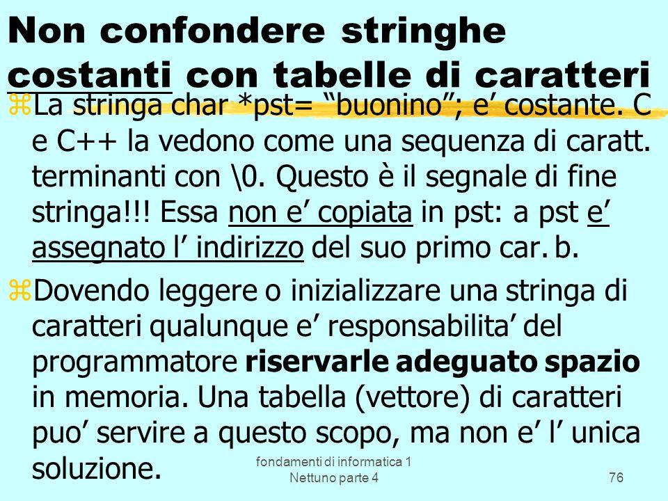 fondamenti di informatica 1 Nettuno parte 476 Non confondere stringhe costanti con tabelle di caratteri zLa stringa char *pst= buonino; e costante. C