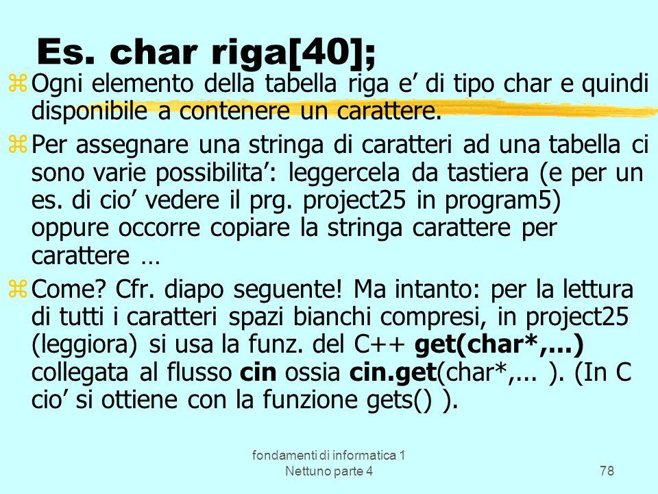 fondamenti di informatica 1 Nettuno parte 478 Es. char riga[40]; zOgni elemento della tabella riga e di tipo char e quindi disponibile a contenere un