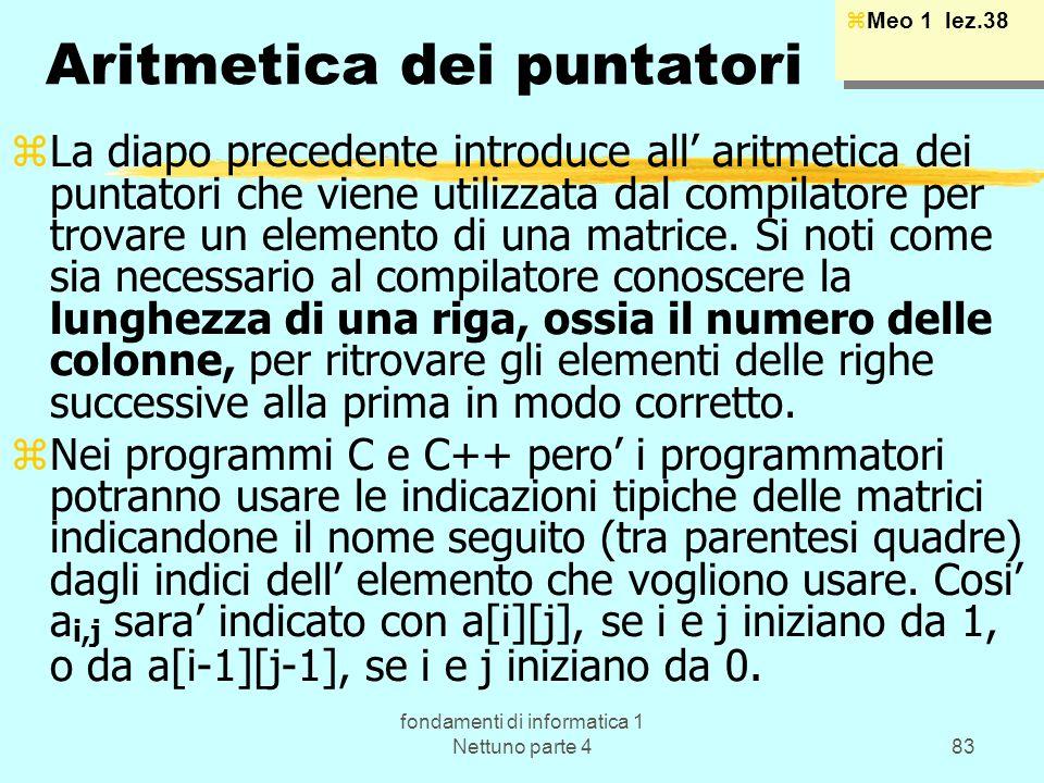 fondamenti di informatica 1 Nettuno parte 483 Aritmetica dei puntatori zLa diapo precedente introduce all aritmetica dei puntatori che viene utilizzat