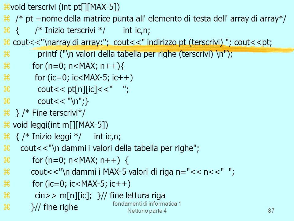 fondamenti di informatica 1 Nettuno parte 487 zvoid terscrivi (int pt[][MAX-5]) z /* pt =nome della matrice punta all' elemento di testa dell' array d