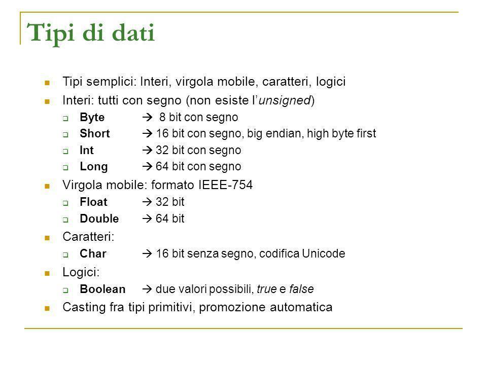Tipi di dati Tipi semplici: Interi, virgola mobile, caratteri, logici Interi: tutti con segno (non esiste lunsigned) Byte 8 bit con segno Short 16 bit
