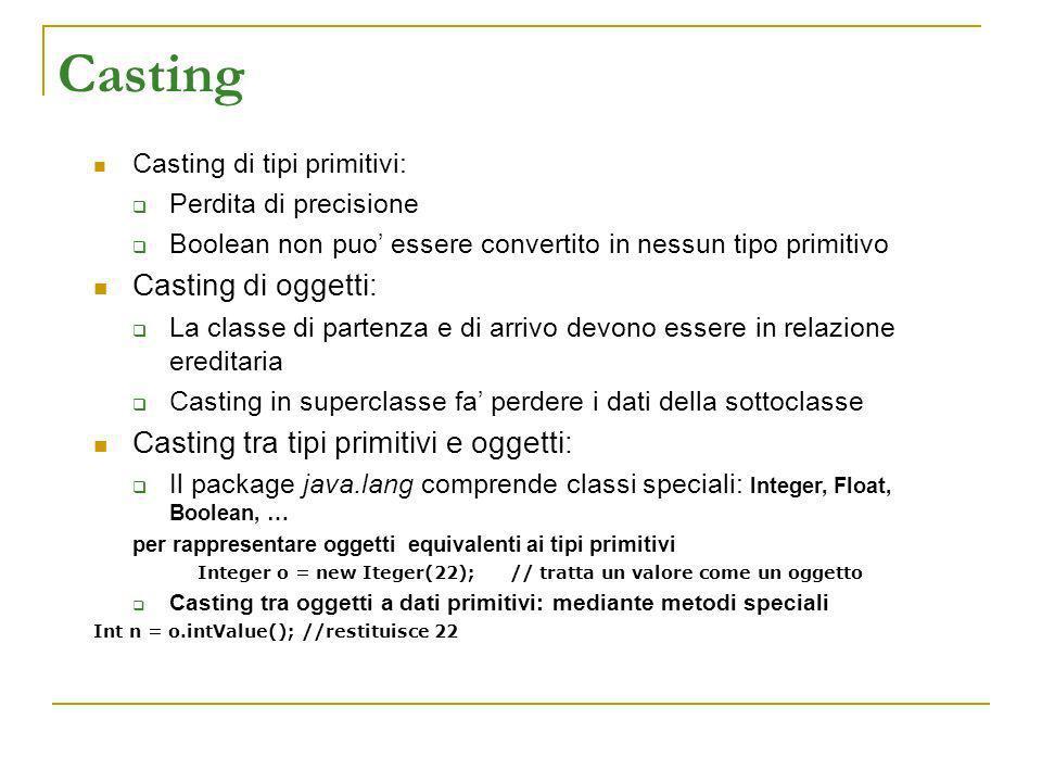 Casting Casting di tipi primitivi: Perdita di precisione Boolean non puo essere convertito in nessun tipo primitivo Casting di oggetti: La classe di p